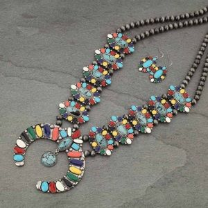 Western Faux Turquoise Squash Blossom Necklace